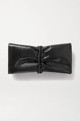 Bottega Veneta Ruched Glossed-leather Clutch - Black