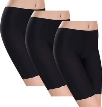 Voqeen Women's Anti Chafing Underwear Long Leg Knickers Briefs Sheer & Sexy Boxers Seamless Soft Ice Silk Slipshort Panties 3 Pack