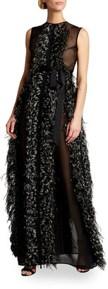 Huishan Zhang Beau Feathered Tulle Sleeveless Gown