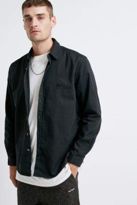 Urban Outfitters Washed Black Solid Twill Shirt - black S at
