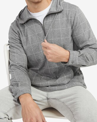 Express Plaid Supersoft Quarter Zip Flannel Hooded Popover