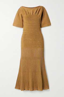 Proenza Schouler Shirred Stretch-knit Midi Dress - Camel