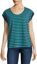 Liz Claiborne Short-Sleeve Cuffed Stripe Tee
