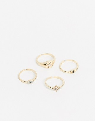 Pieces multi pack ring set in gold