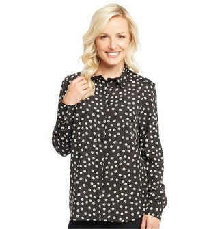 Onfire Womens All Over Print Flower Shirt Black/White