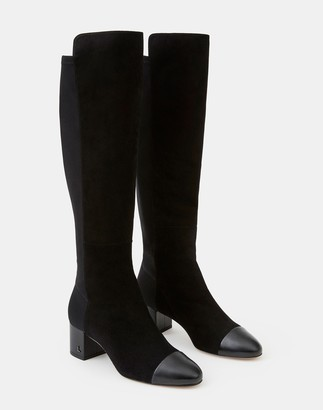 Lafayette 148 New York Suede Stretch Emilia Knee-High Boot
