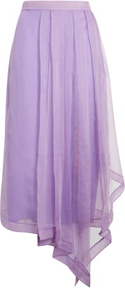 Gucci Asymmetrical Silk Organza Midi Skirt