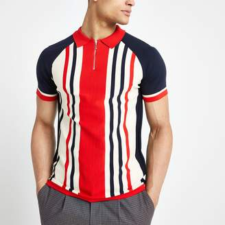 River Island Mens Red stripe muscle fit half zip polo shirt
