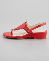 Taryn Rose Kingston Eyelet Cutout Low Wedge Thong Sandal, Coral