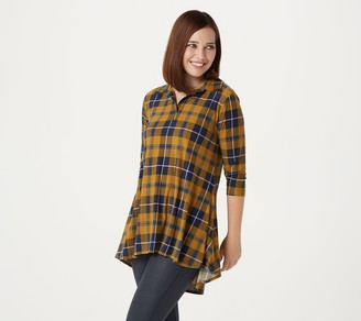 Women With Control Attitudes by Renee Regular Yummy Jersey Collared Plaid Tunic
