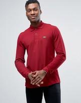 Lacoste Polo Shirt In Long Sleeve Bordeaux Regular Fit