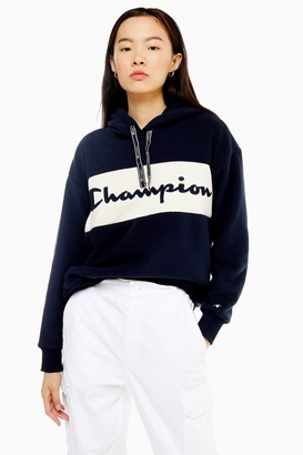 Champion Womens Navy Logo Fleece Hoodie By Navy Blue