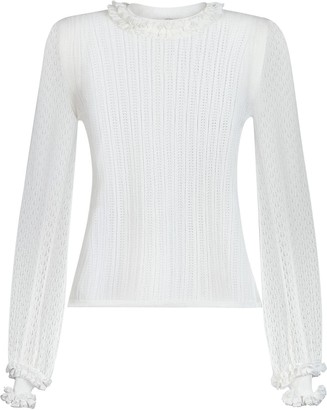 Fendi Ruffle Trim Knitted Top