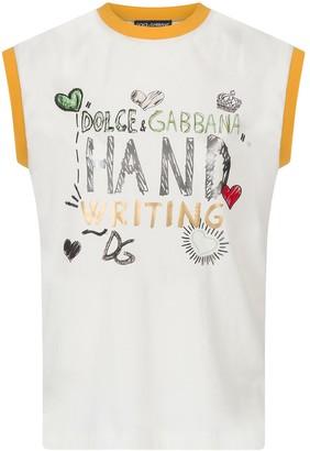 Dolce & Gabbana graphic-print cap-sleeve T-shirt