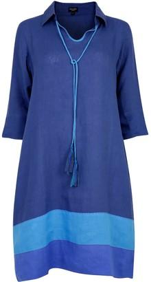 Nologo Chic Deep-Sea Blues Morocco Pure Linen Tunic Dress