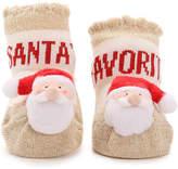 Mud Pie Girls Santa Rattle Toe Infant Ankle Socks -Off White