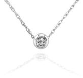 Kobelli Jewelry Mini Diamond Solitaire Bezel 14K White Gold Necklace with 18-inch Chain