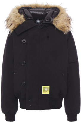 R 13 Faux Fur-trimmed Canvas Hooded Down Coat