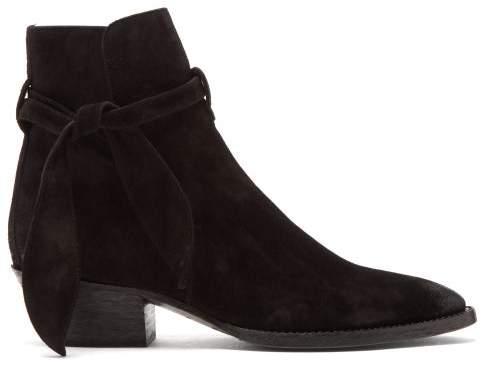 Saint Laurent West Tie Side Suede Ankle Boots - Womens - Black