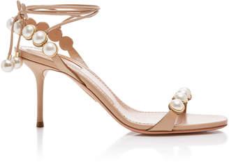 Aquazzura Mae Faux-Pearl-Embellished Leather Sandals