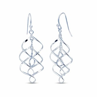 Infinity Dangle Drop Earrings Cast in Highly Polished 925 Sterling Silver