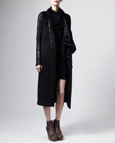 Rick Owens Leather-Sleeve Asymmetric Coat