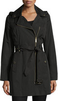 MICHAEL Michael Kors Asymmetric Belted Trench Coat, Black