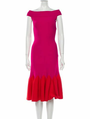 Alexander McQueen Bateau Neckline Midi Length Dress Pink
