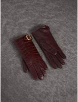 Burberry Crocodile and Lambskin Gloves , Size: 8, Red