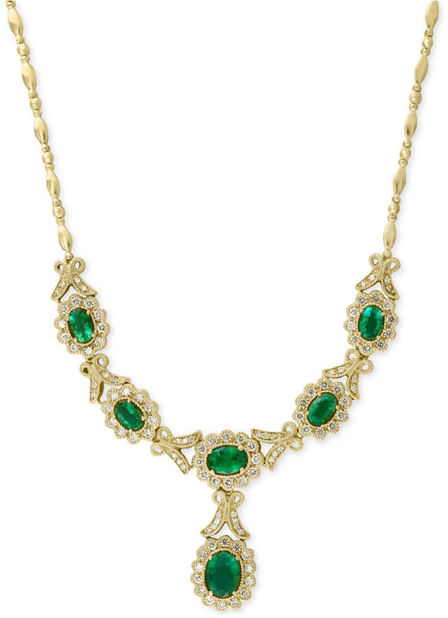 Effy Brasilica by Emerald (3-5/8 ct. t.w.) and Diamond (1-1/2 ct. t.w.) Necklace in 14k Gold, Created for Macy's