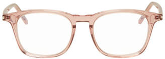 Saint Laurent Pink Transparent Square Crystal Glasses