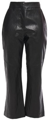 Cédric Charlier Faux Cracked-leather Kick-flare Pants