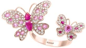 Effy 14K Rose Gold, Ruby, Pink Sapphire & Diamond Butterfly Ring