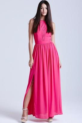 Girls On Film Pink Lace Insert Maxi Dress