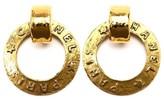 Chanel Gold Tone Metal Logo Hoop Swing Earrings