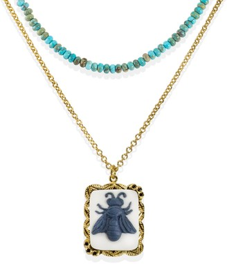 Vintouch Italy Bee Cameo & Turquoise Layered Necklace