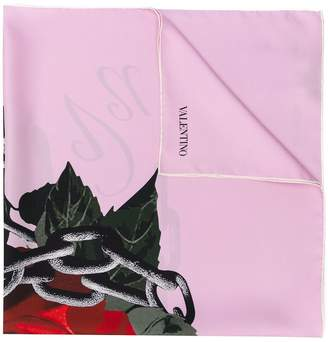 Valentino Floral-Print Silk Neck Scarf