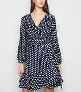 New Look Mela Bird Print Ruffle Wrap Dress