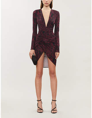 Alexandre Vauthier V-neck leopard-print stretch-jersey mini dress