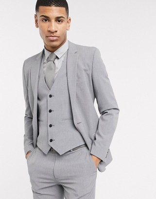 ASOS DESIGN super skinny suit jacket in four way stretch in mid gray