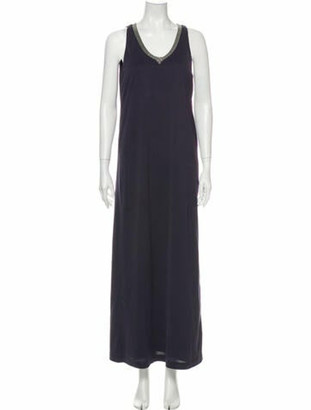 Brunello Cucinelli Scoop Neck Long Dress Blue