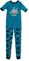 Petit Lem Shark Top & Pants Pajama Set, Teal, Size 5-6X