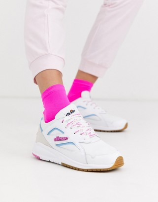 Ellesse contest leather colourblock chunky trainers in white