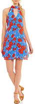 Jodi Kristopher Choker Neck Floral Print Shift Dress