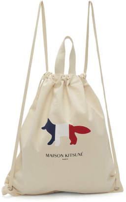 MAISON KITSUNÉ Off-White Tricolor Fox Backpack
