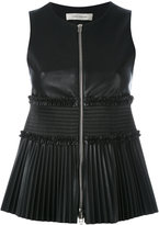 Cédric Charlier sleeveless and pleated top - women - Polyester - 40