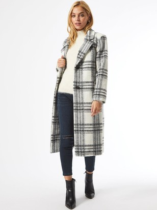 Dorothy Perkins Petite Check Single Breasted Coat - White/Black