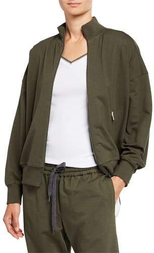 89246e09c Monili-Trim Cotton Felpa Bomber Jacket
