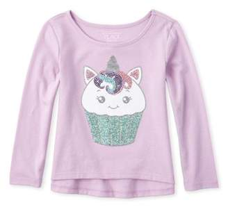 Children's Place The Baby Toddler Girl Sequin Graphic Long Sleeve High-Low T-Shirt