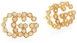 Gucci Running G Diamond 18K Yellow Gold Stud Earrings